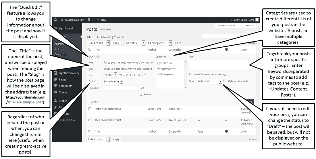 Using Quick Edit in QordPress